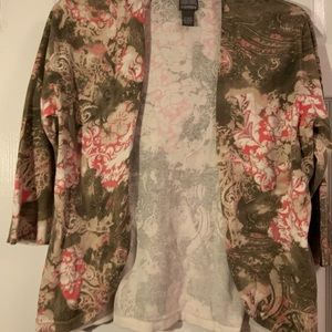 Chico's floral open cardigan